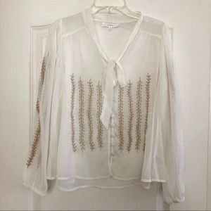 Naked Zebra Blouse With Gold Embroidery M